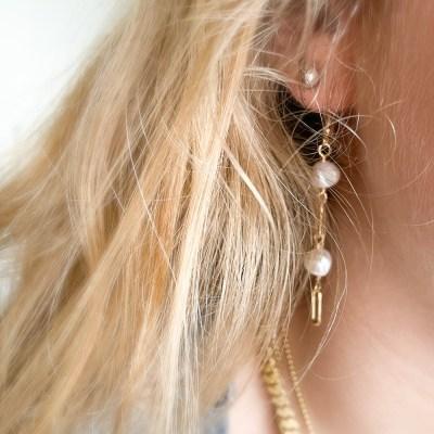Glimt øreringe med perler lange set på
