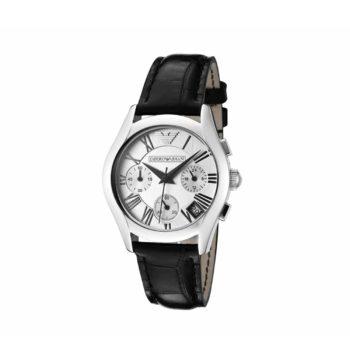 Emporio Armani Black Leather Strap Chronograph Men's Watch – AR0670