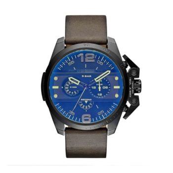 Diesel Ironside Chronograph Blue Dial Brown Leather Men's Watch – DZ4364