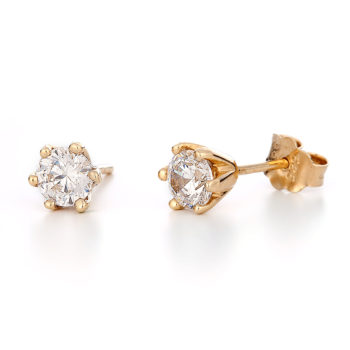 Σκουλαρίκια Μονόπετρα Χρυσά Με Ζιργκόν