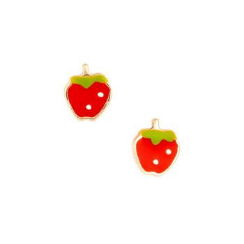 Σκουλαρίκι Φράουλα Παιδικό Χρυσό Για Κορίτσι