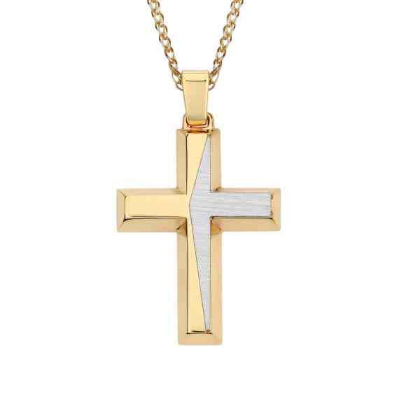 Σταυρός Μοντέρνος Δίχρωμος Χρυσός 002861