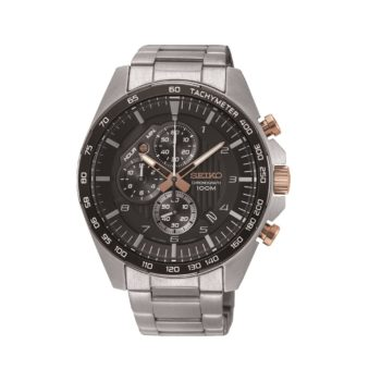 Seiko Chronograph Rose Gold Dial Men's Watch – SSB323P1