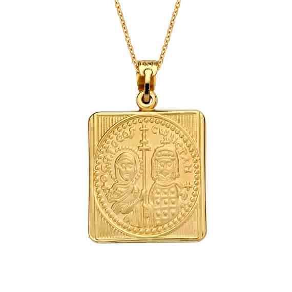 Κωνσταντινάτο Φυλαχτό Παναγία Δίχρωμο Χρυσό Ανάγλυφο Διπλής Όψης 003047 2 Jewelor