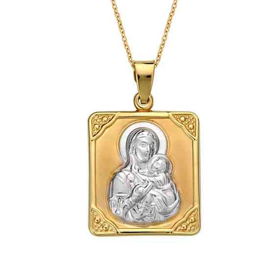 Κωνσταντινάτο Φυλαχτό Παναγία Δίχρωμο Χρυσό Ανάγλυφο Διπλής Όψης 003047 Jewelor
