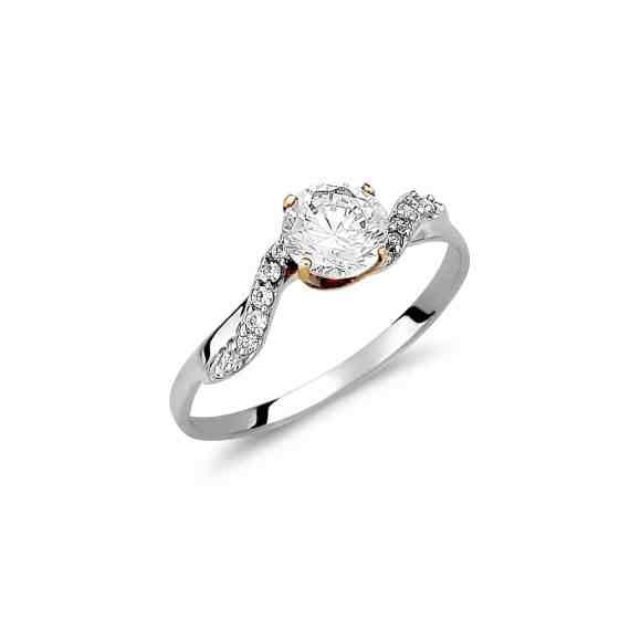Μοντέρνο Μονόπετρο Δαχτυλίδι Λευκόχρυσο Με Ζιργκόν 003035 Jewelor