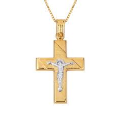 Σταυρός Ιησούς Χριστός Δίχρωμος Χρυσός Ζαγρέ Ματ Και Γυαλιστερός 14Κ