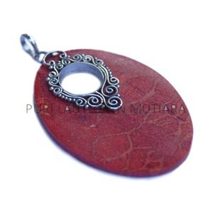 PD-055-Long Oval Coral Pendant