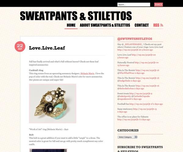 Sweatpantsandstilettos.com Featured the Work of Art ring Sept 2010