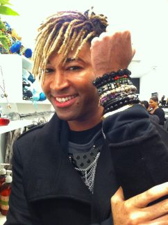 "Celebrity Stylist Ty Hunter wearing the ""Mali"" and the ""Jade Angel Wing"" bracelet"