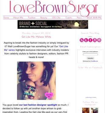 LoveBrownSugar.com featured MM in August 2012