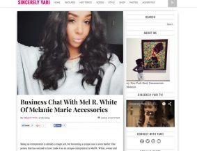 SincerelyYari.com featured MELANIE MARiE in February 2015