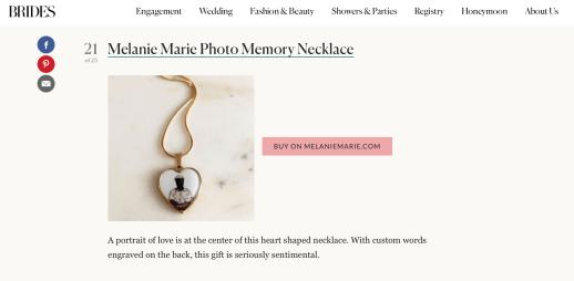 BRIDES.com featured Melanie Marie October 2020