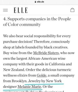 Melanie Marie featured on ELLE.de 2020