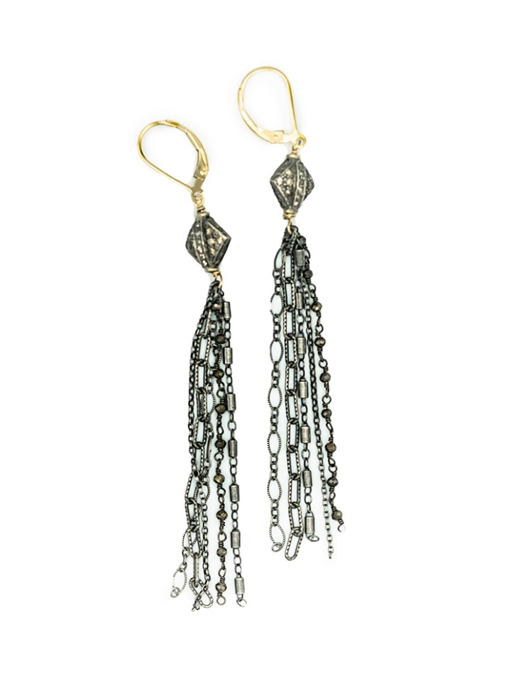 vintage pave diamond mixed chain tassel earrings