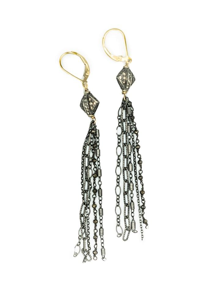 vintage pave diamond mixed chain tassel earrings