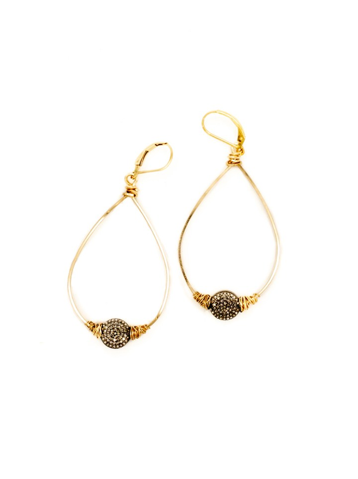 pave diamond coin wrapped Hoops
