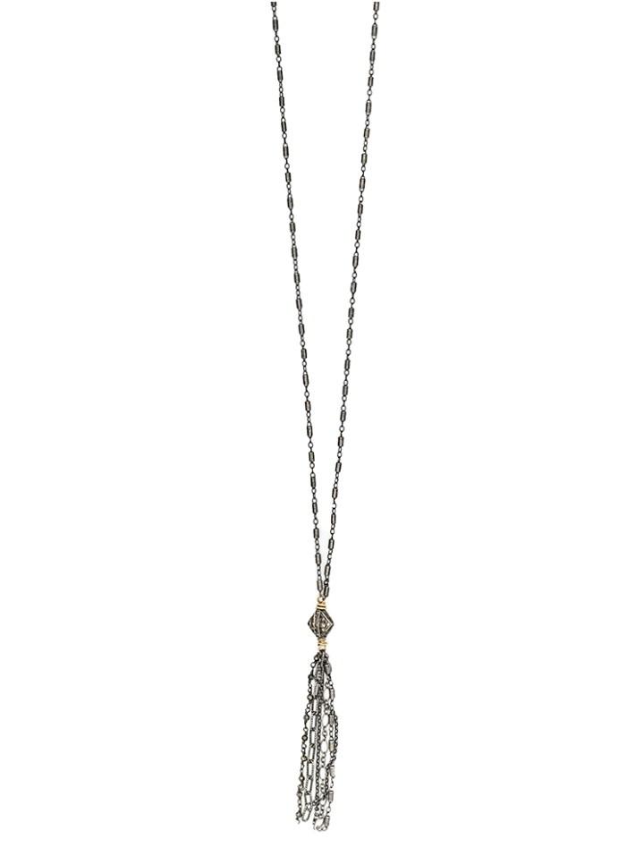 vintage pave diamond mixed chain tassel necklace