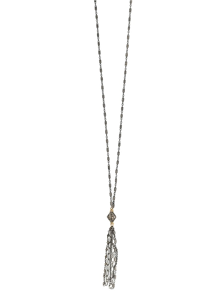 vintage pave diamond mixed chain tassel necklace