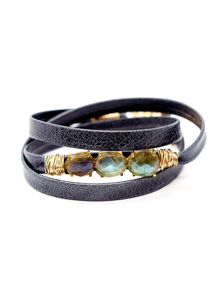 Labradorite triple wrap leather bracelet