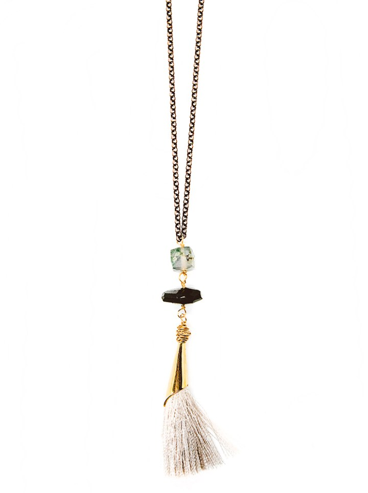 moss agate double stone capped tassel long necklace