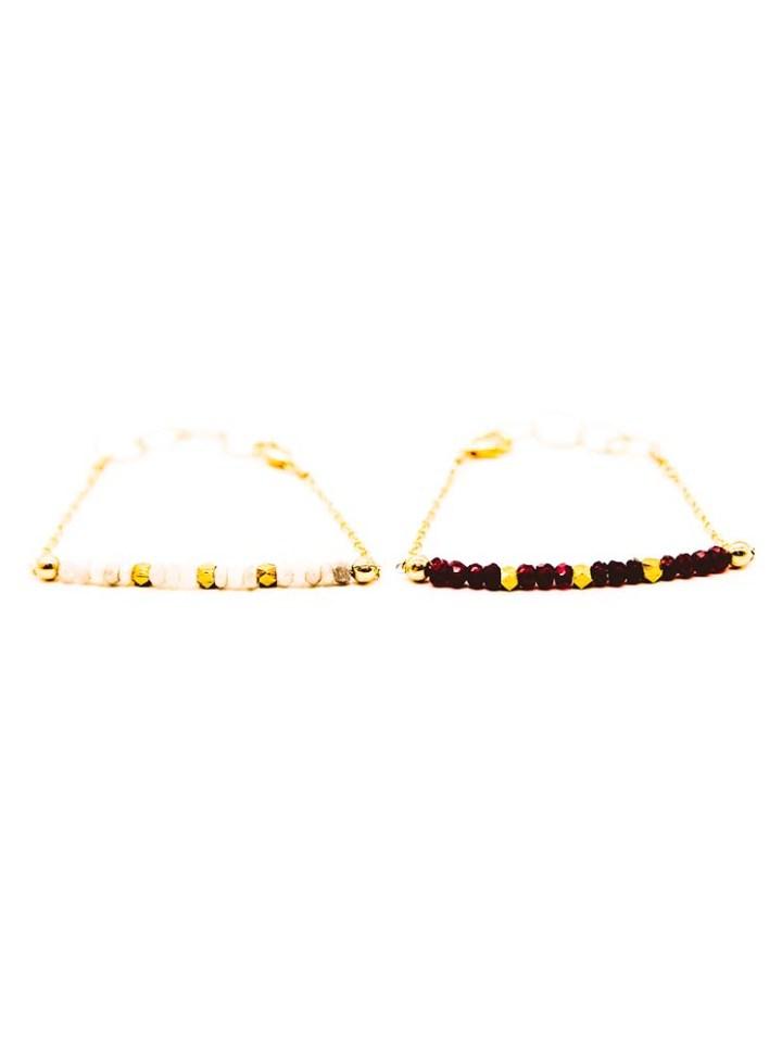 garnet or silverite strung bracelet