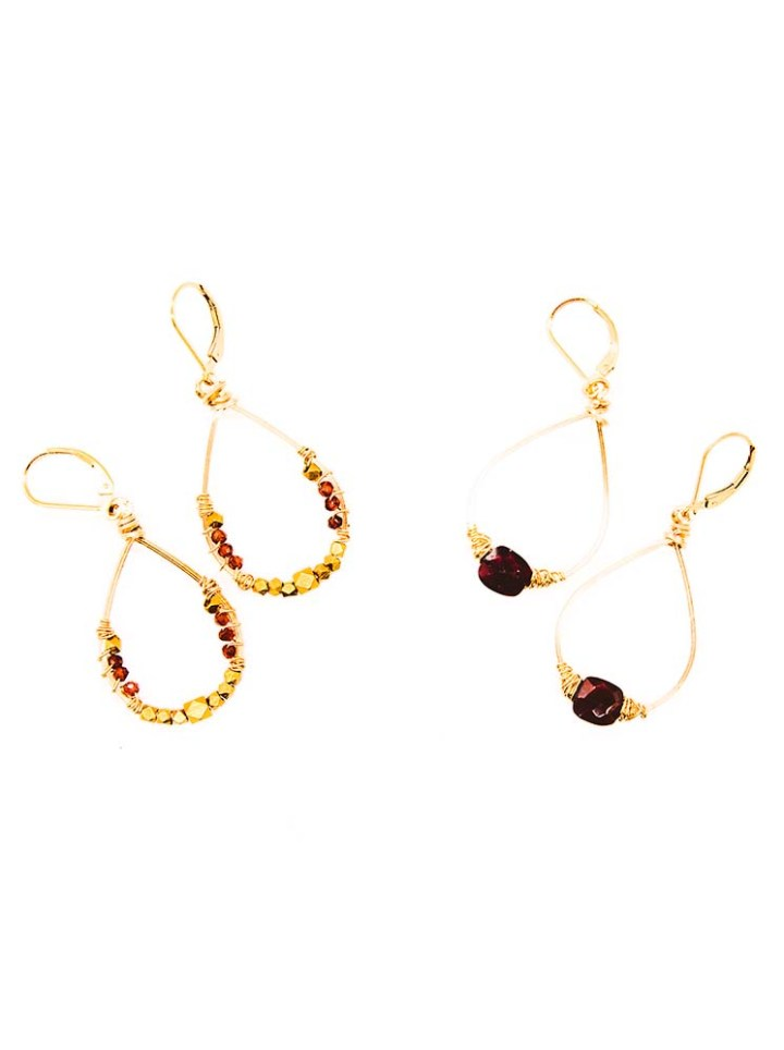 garnet small wrapped hoops, garnet tibetan wrapped hoops