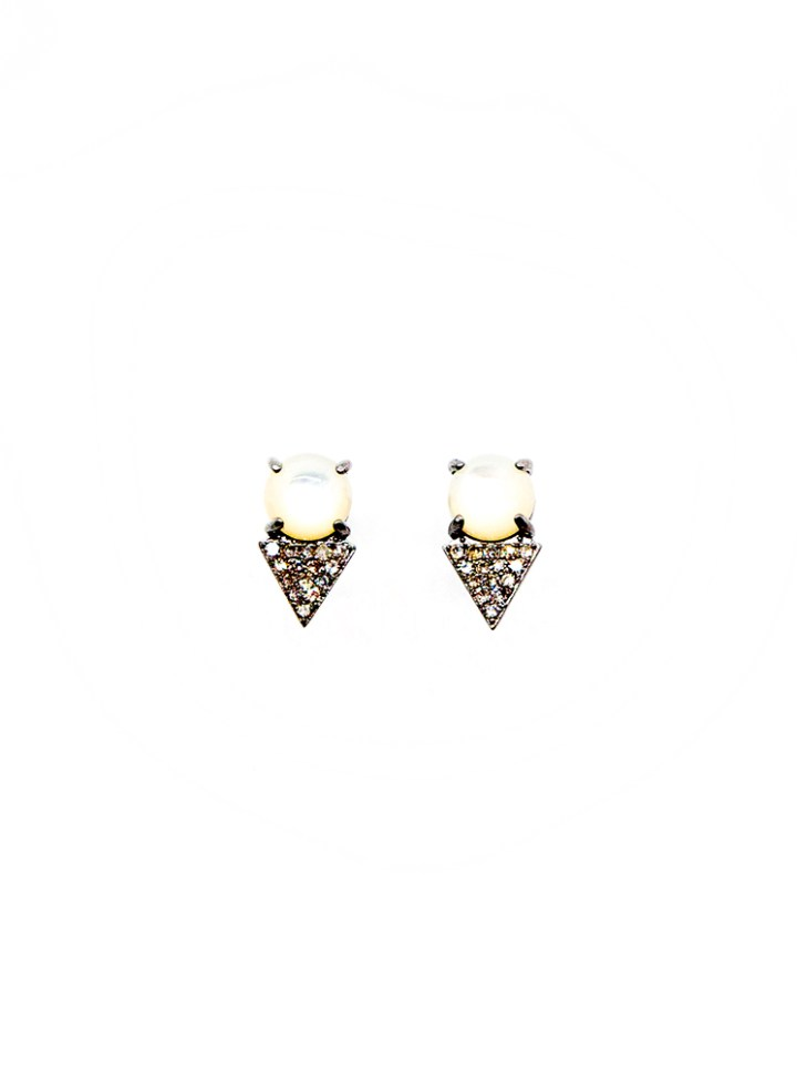 mother of pearl pave diamond dagger studs