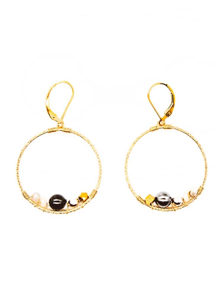 pearl cluster wrapped gemstone hoops