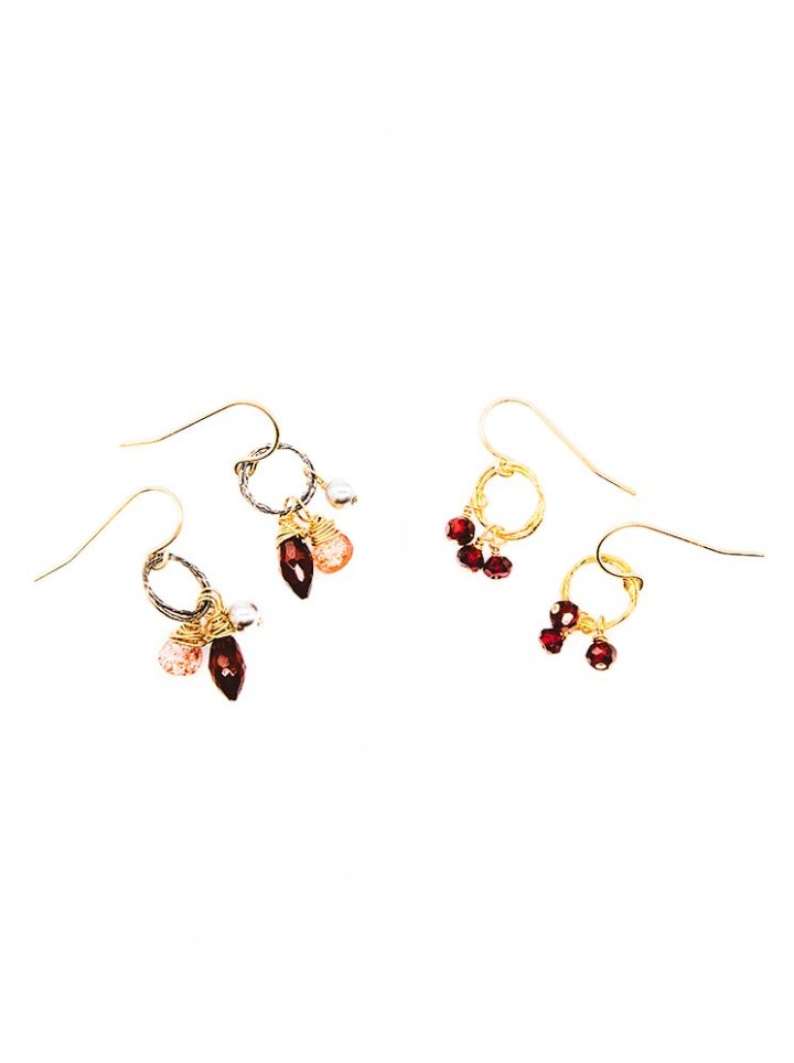 strawberry quartz, pearl, garnet stardust drop earrings