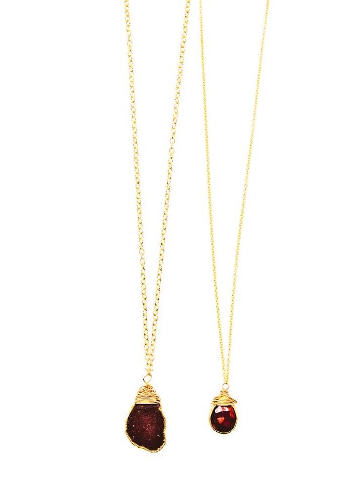 garnet slice and garnet tear deli necklace