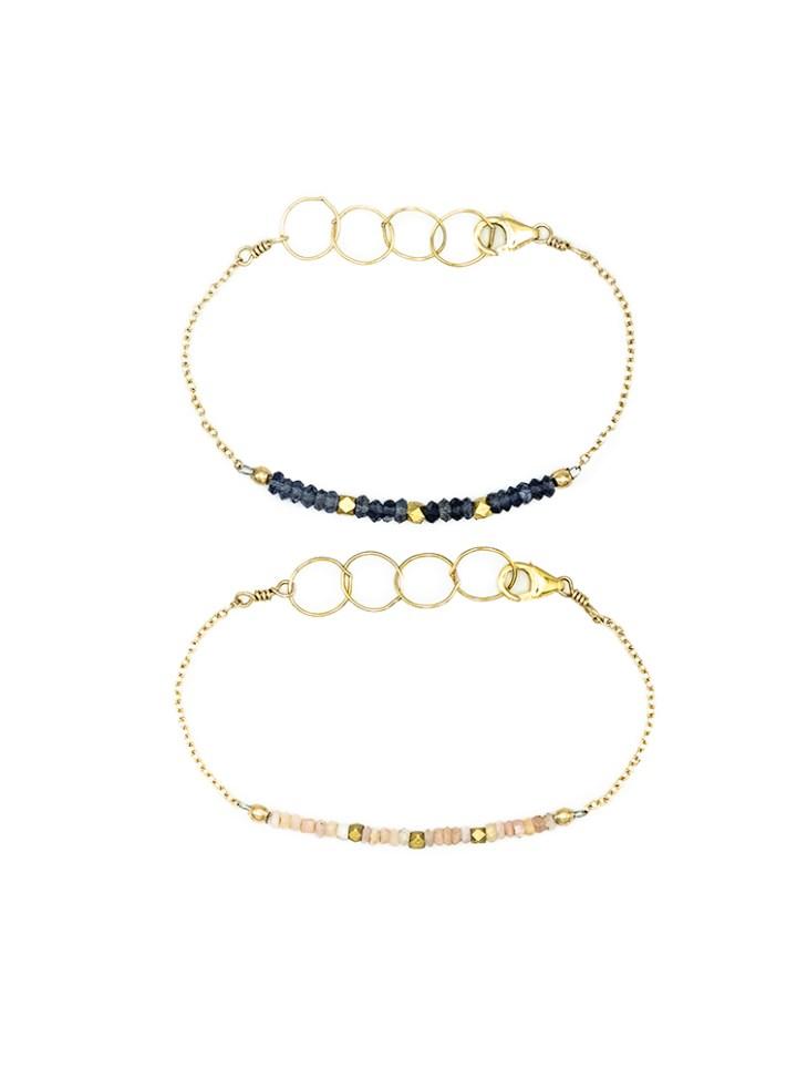 Pink opal and iolite hand strung rondelle bracelet.