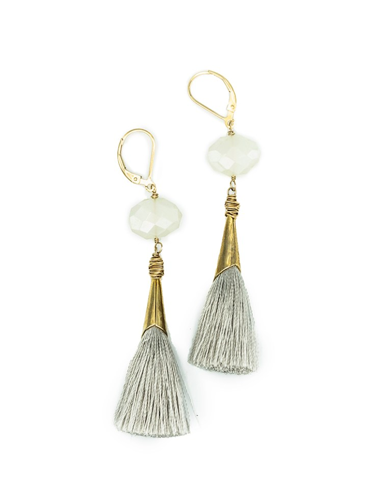 pearl chalcedony silk capped tassel earrings