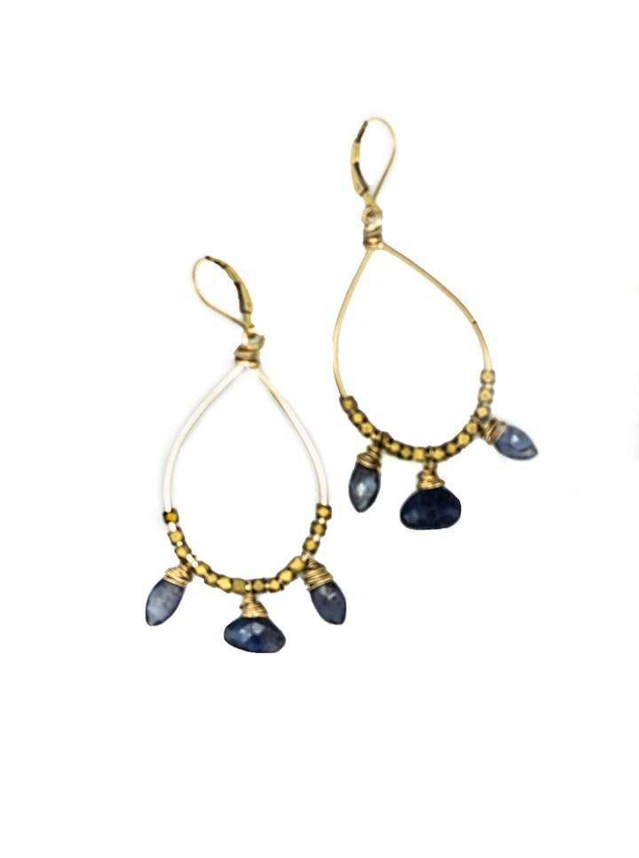 Iolite medium chandelier hoops