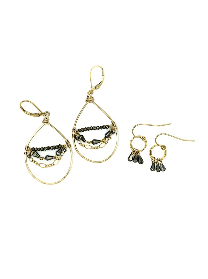 pyrite medium chandelier hoops pyrite pyramid stardust drop earrings