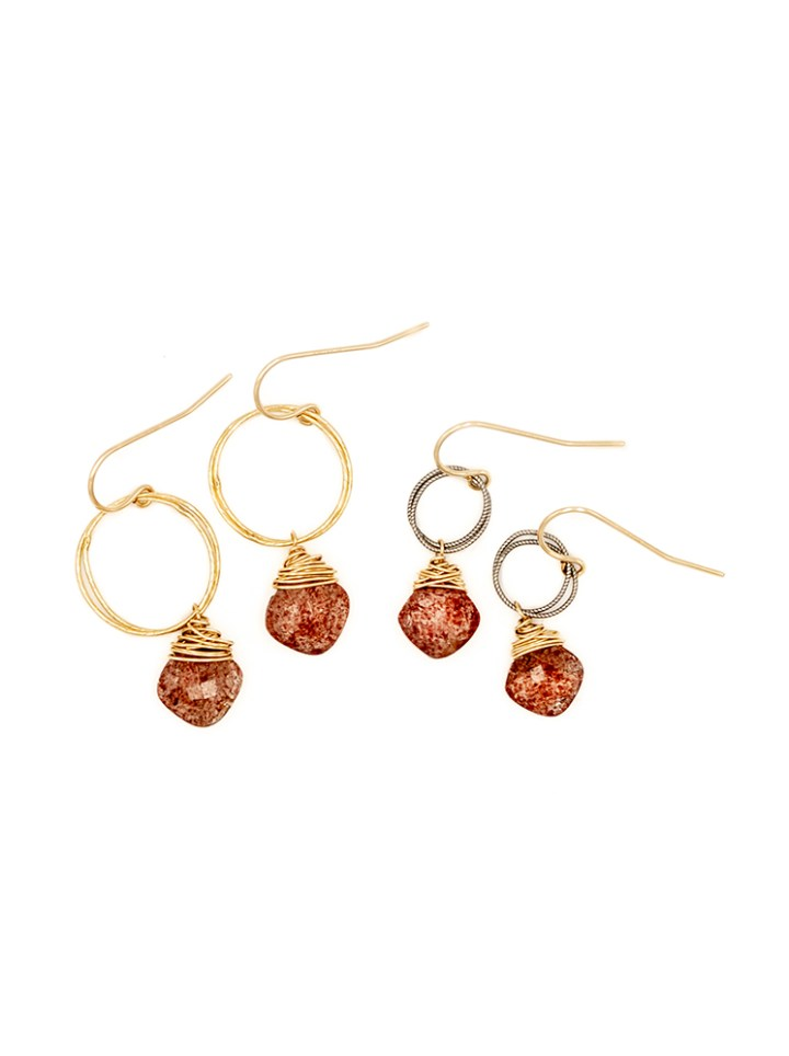 strawberry quartz stardust drop earrings