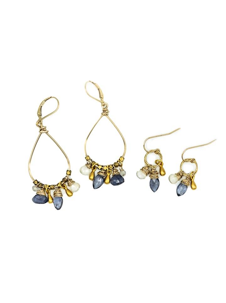 iolite cluster hoop and stardust cluster drop earrings