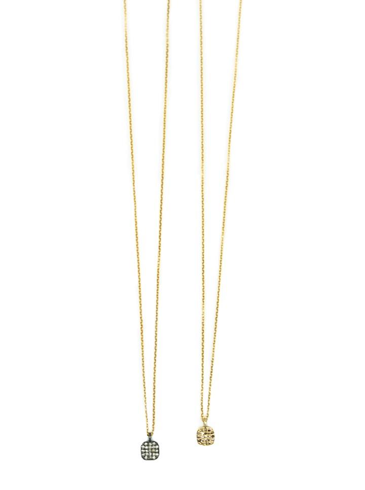 pave diamond delicate square necklaces