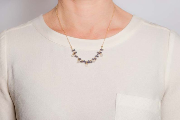 iolite cluster and pearl chalcedony teardrop short necklace on model