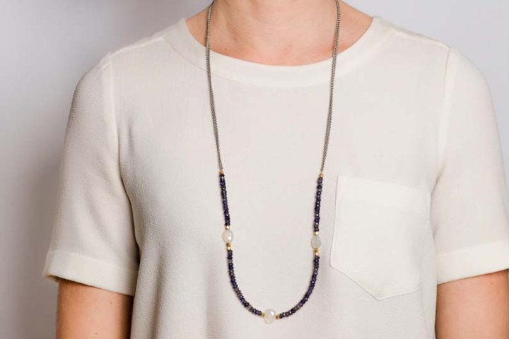iolite and pearl chalcedony pattern strung long necklace
