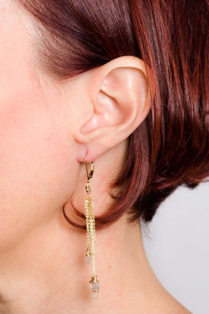 pearl chalcedony delicate tassel earrings on model