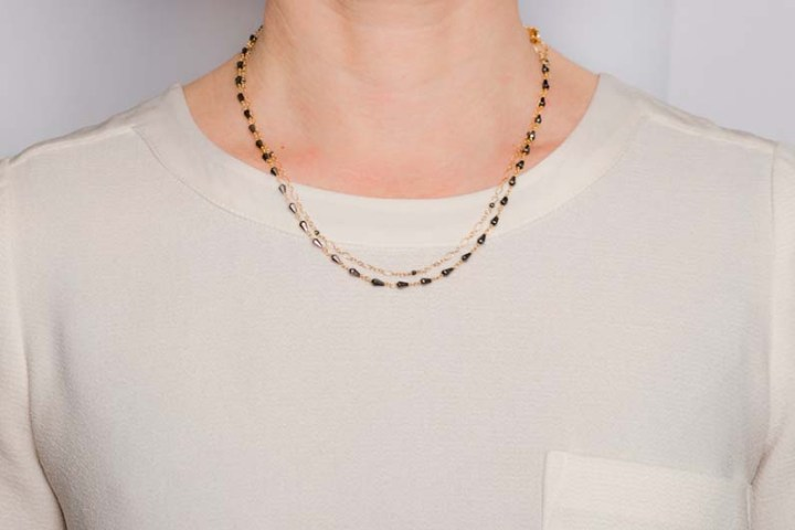 double strand mixed chain necklace on model