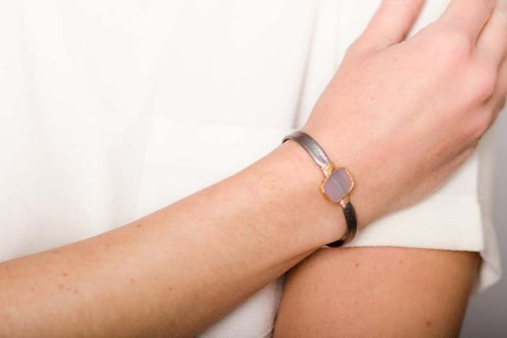 rose quartz freeform leather wrapped bracelet