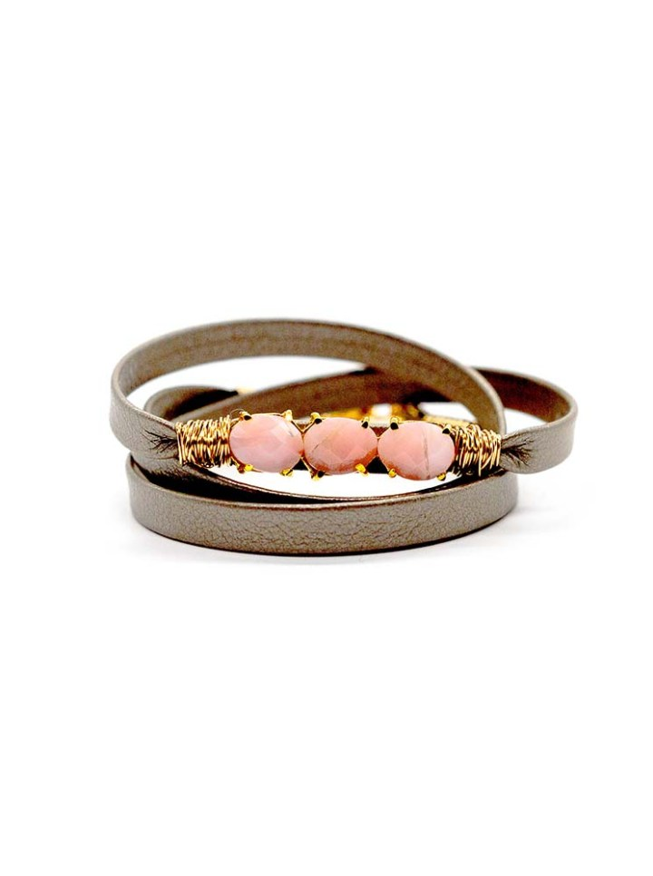 pink opal leather triple wrap bracelet