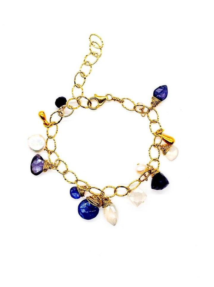 iolite pearl chalcedony charm bracelet