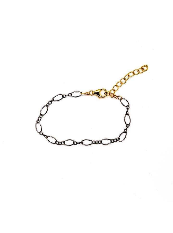 antique oxidized silver filigree mixed link chain bracelet, 14k gold filled sterling silver handcrafted jewelry