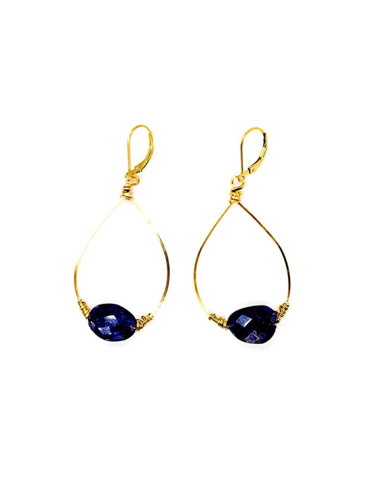 iolite unusual cut wrapped hoop