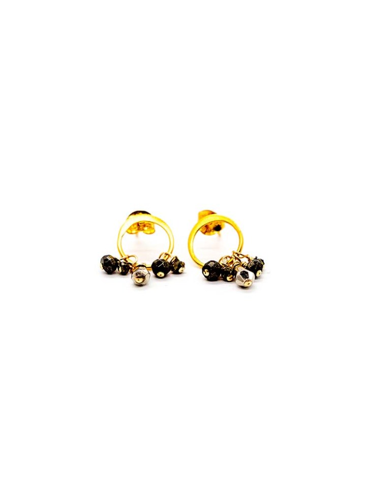 pyrite triple drop mini hoop stud earring, handcrafted jewelry