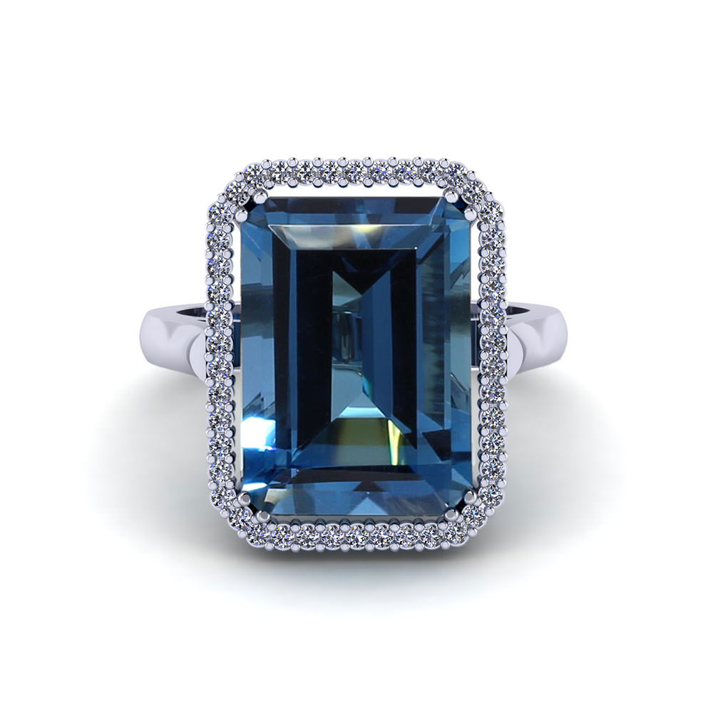 Emerald Cut Blue Topaz Halo Ring Jewelry Designs