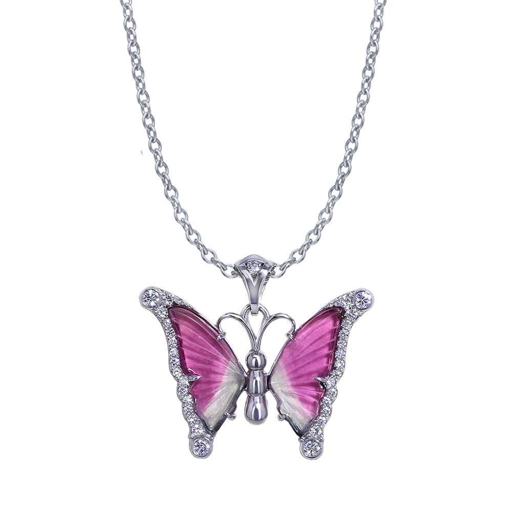 Watermelon Tourmaline Butterfly Necklace Jewelry Designs